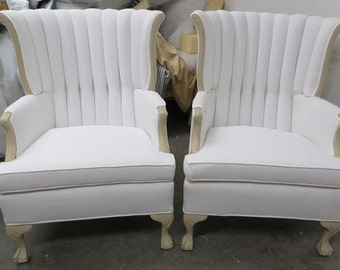 Pair of White Twill Channel Back Chairs - Totally Refurbished