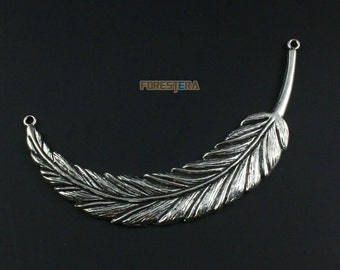 4Pcs Antique Silver Feather Charm Feather Pendant Feather Connector 95x17mm (PND1325)