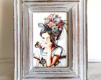 flowers in her hair..Framed print
