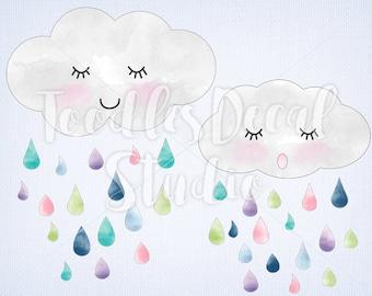 Clouds Clip art, Rain Drops Digital Art, Watercolor Clouds Art, clouds ping, raindrop ping files, Instant Download,  PNG file - 300 dpi