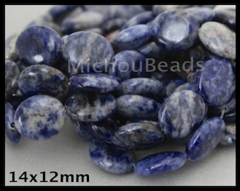 """16"""" Strand - 14mm Blue SODALITE Oval Beads - 14x12mm Flat Oval Natural Genuine Gemstone Smooth B Grade Beads - Instant Shipping - USA  6856"""