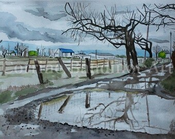 Watercolor painting of puddle on a long road reflection farm scene