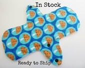 10 inch cloth pad - cloth menstrual pad - medium or light flow pad - plus size cloth pad - blue mushrooms flannel - in stock ready to ship