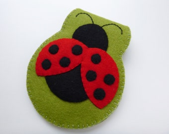Ladybug needle book - handsewn needle keeper - lady beetle needlebook - wool felt needle wallet - handcrafted sewing wallet - ready to ship
