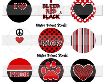 INSTANT DOWNLOAD Blank Red  Black  White Paw School  Team Mascot  1 inch Circle Bottlecap Images 4x6 sheet