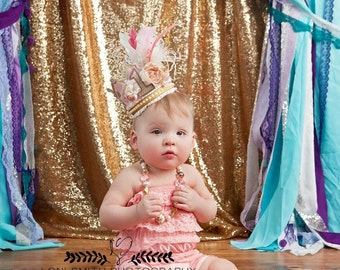 Birthday Girl Fancy Crown Hat in Pink, Ivory and Gold with Flower and Feather Embellishments
