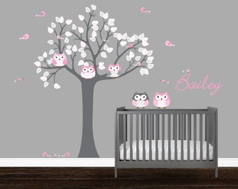 Quatrefoil vinyl wall decal, Nursery Owl wall decals, childrens room wall decals, white and pink, stickers arbre, wall tattoo