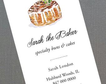 Personalized business card with Cinnamon Roll Bakery Illustration - Set of 50