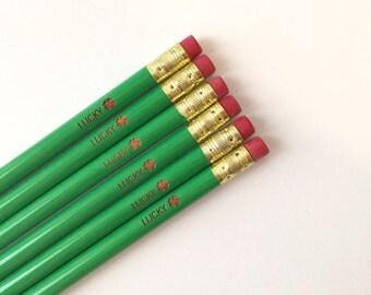 Lucky clover pencil 6 engraved green pencils. St patricks day lucky pencils