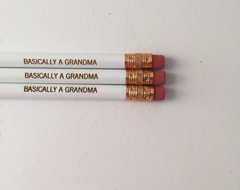 Basically a grandma 3 engraved pencils in white. Back to school.