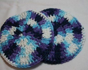 Round Hand Crocheted Soap Cozy Holder Saver Wash Pad 100% Cotton Set of Two