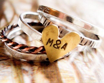 Love Is Golden Personalized Stacking Ring in Mixed Metals