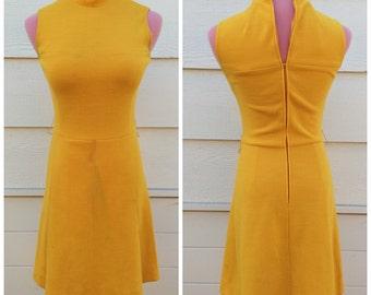 Canary yellow 70s high neck sleeveless wiggle dress size small