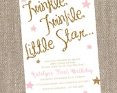 Sparkle Birthday Invitation, Twinkle Twinkle Little Star, Pink Birthday Invitation, Glitter Birthday Invitation, Blush and Gold Birthday