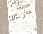 Sparkle Birthday Invitation, Twinkle Twinkle Little Star, Pink Birthday Invitation, Glitter Birthday Invitation, Blush and Gold Birthday