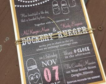 Wedding Invitations - Rustic Wedding Invitations - Mason Jar Invitations - Custom Wedding Invitation Set