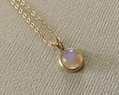 Moonstone Necklace in Gold -Gold Moonstone Necklace -Tiny Moonstone Necklace With Gold Fill Chain
