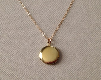 Tiny Gold Locket -Gold Locket Necklace -Round Gold Locket -Tiny Brass Locket Necklace with Gold Fill Chain