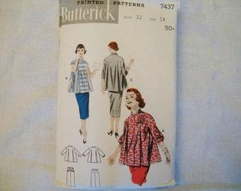 Vintage Sewing Pattern, 50s Maternity Top, Blouse Pattern, Butterick 7437,  Size 14 Bust 32, Round Yoke, Full Maternity Top, Rockabilly
