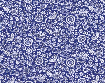 Fat eighth 'Clare and Emily A', bright blue and white traditional Liberty of London print tana lawn