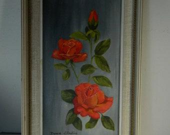 Vintage Roses Oil Painting Doris Stanton Artist signed Oil Painting Floral Red Roses Framed Art