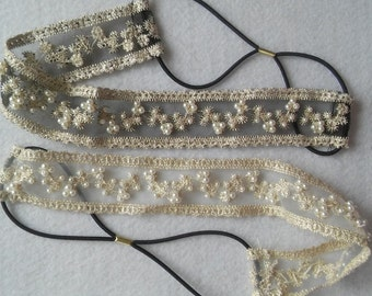 Bridal Vintage Handmade Bohemian Pearls and Lace Headband.