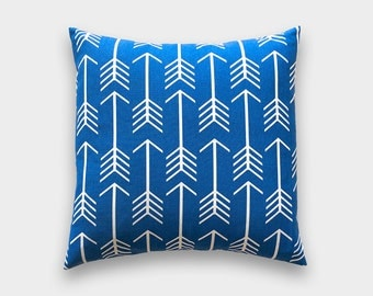 Cobalt Blue Arrows Decorative Pillow Cover. 18X18 Inches. Royal Blue Throw Pillow Cover.