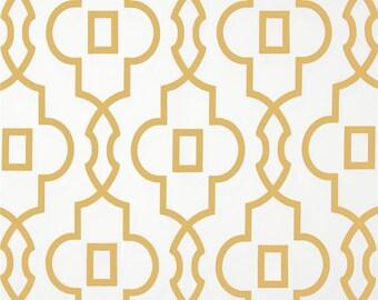 1 Yard Saffron Yellow Bordeaux Fabric - Premier Prints- Light Yellow and White Geometric - Fabric by the Yard