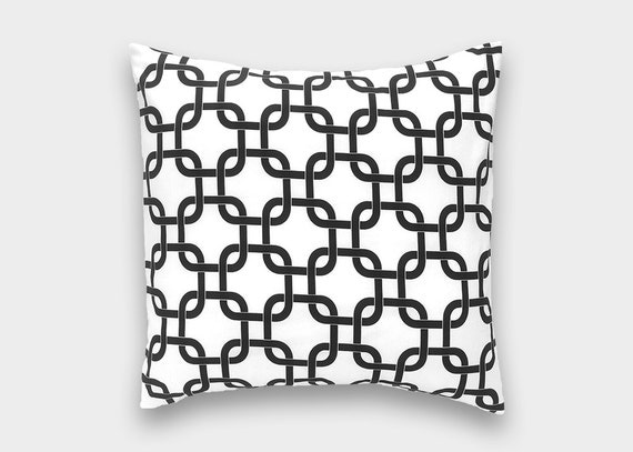 CLEARANCE 50% OFF Black and White Chain Decorative Pillow Cover. 18 X 18 Inch Geometric Cushion Cover