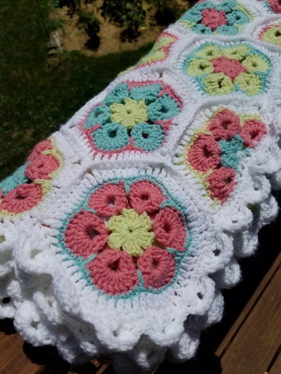 African Flower Crochet Blanket Baby blanket Crochet Baby
