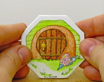 Magic Door painting with a snail slithering by | Watercolor and Ink | Tiny, Magic Doors | Green | Original Painting Whimsical Art Wall Decor