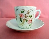 """Vintage Demitasse Teacup & Saucer Set 1930s - Hand Painted, """"Think Of Me"""" in gold, Pink Roses and Green leaves, gold stems, """"Made In Gemany"""