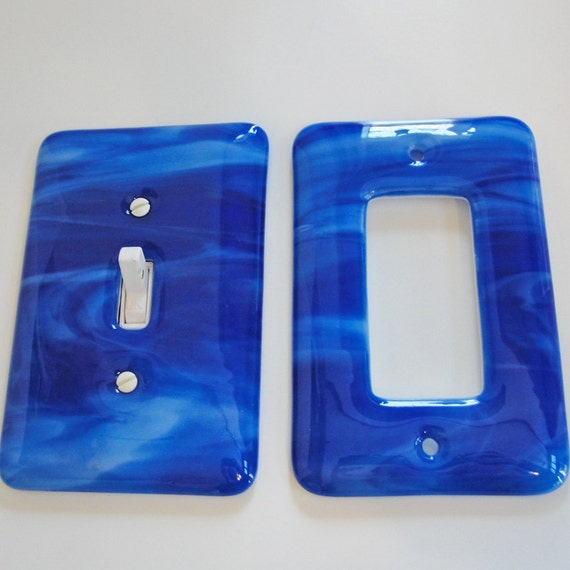 Set Of Fused Glass Light Switch Plate And Wall Outlet Covers