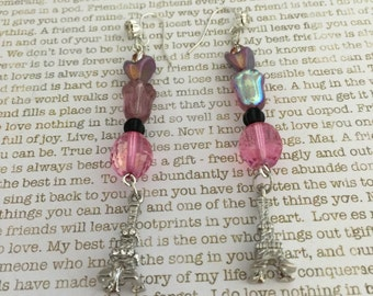 Eiffel Tower Earrings Made With Czech Beads In Pink and Black Perfect For Lovers Of All Things French! Eiffel Tower Jewelry French Jewelry