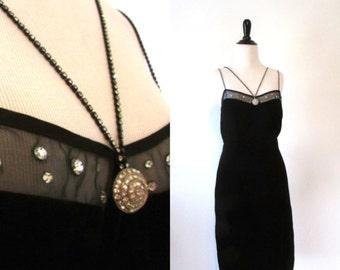 Vintage 1980's Black Velvet Evening Dress Size M/L
