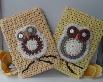 Hand Crocheted Butterscotch & Maize Cream Owl Kindle Nook Kobo E-reader Tablet iPad Sleeve Cover Holder
