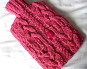 Hand Knitted Aran Raspberry Cabled Hot Water Bottle Cover/Cozy/Cosy