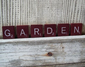 Vintage Maroon Scrabble Letters GARDEN, Altered Art Supply, Assemblage Supply