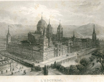 1856 El Escorial Antique Print Black and White Engraving 16th Century Spanish Architecture