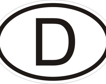 Germany D Country Code Oval Sticker for Bumper Laptop Book Fridge Motorcycle Helmet ToolBox Door PC Hard Hat Tool Box Locker Truck