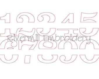 Raggy Applique Split Numbers Machine Embroidery Design - 5 Sizes