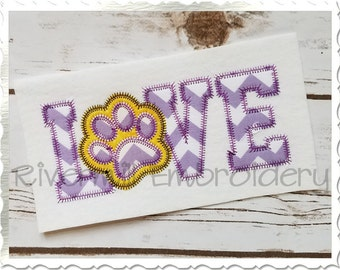 Zig Zag Applique Love With a Paw Print Machine Embroidery Design - 4 Sizes