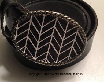 Kristin Henchel belt buckle - Black and White Print