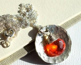 Orange Gemstone Necklace, Tangerine Zircon Necklace, Sterling Hammered Disc Necklace, Natural Zircon Necklace, Sterling Dome Necklace