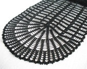 Crochet Table Runner. Natural Ecru Earth tone. cotton home decor. Lace crochet doily, table runner, oval doily. READY TO SHIP.