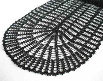 Crochet Table Runner. black. cotton home decor. Lace crochet doily, table runner, oval doily. MADE TO ORDER