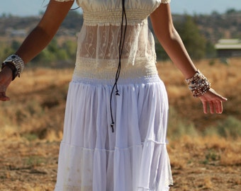 Bella / Skirt / White / Coachella Ibiza/ Romantic Full / BoHo / layered ruffles and lace / Ready to Ship