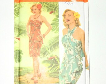 Simplicity OOP RARE Misses 50's Luau Hawaiian Dress By Designer Theresa LaQuey UNCUT Size 6 8 10 12 Pattern Number 4559