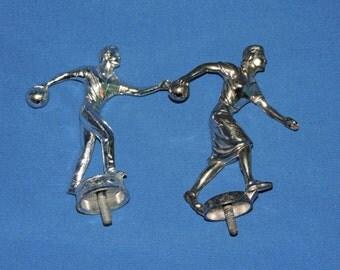 Vintage 1960s Bowling Trophy Toppers Man Woman League Silver Tone Cast Metal Bowl