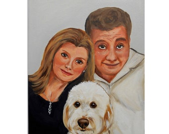 "Custom Portrait / Custom Couple Portrait / Custom Wedding Portrait  - Two People and Up To Two Pets Solid color background (12x16x0.75"")"